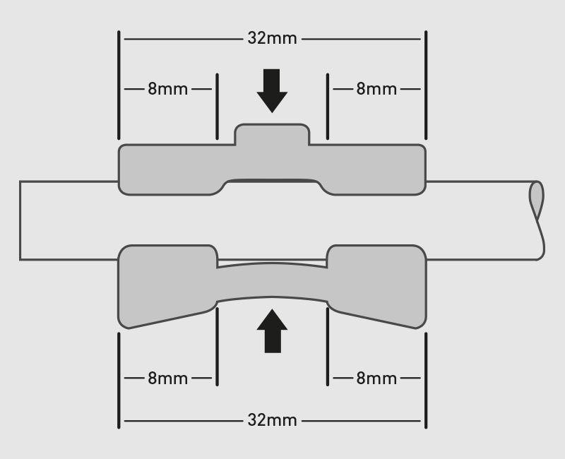 le ganasce devono interessare il telaio sella per una lunghezza non inferiore a 32 mm